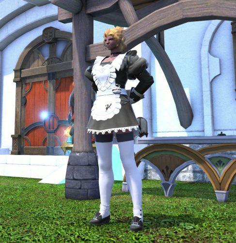 FF14ルガディン女性(ローエンガルデ)のメイド服姿